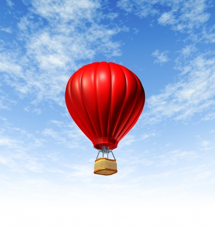 Hot air balloon flying up to the sky rising high as a symbol of adventure and freedom on a blue summer background for promotion advertising and markrting tourism or travel  photo