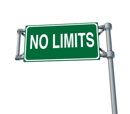 limitations: No limitations symbol of positive attitude as a green outdoor no limits highway sign and an icon of determination in business success and a concept for setting goals for financial opportunity isolated on white