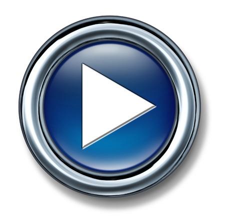 divertirsi: Gioca pulsante su uno sfondo bianco come una tecnologia e interneticon e simbolo di musica e inizio della selezione video del contenuto multimediale digitale