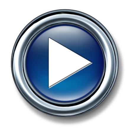 blue button: Play button on a white background as a technology and interneticon and  symbol of music and video start selection of digital media content