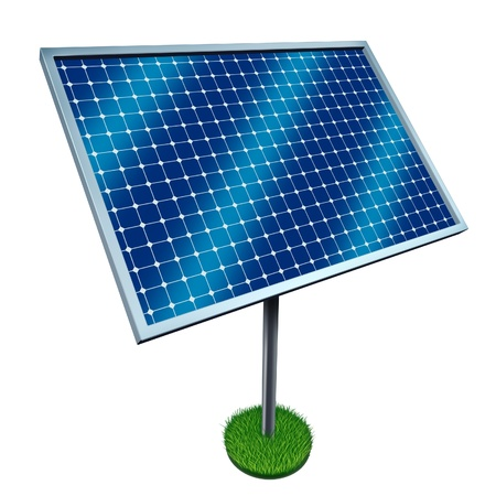 Renewable energy and solar panels on a white background as a symbol of cost effective green fuel from harnessing the heat and light power from the sun  photo
