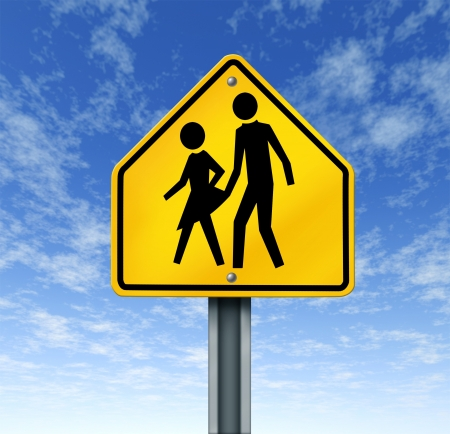 Sexual abuse in schools with a warning sign of a sex predator abusing and attacking young innocent student victims represented by a yellow hazard sign with the criminal act illustrated as a symbol Stock Photo - 14345366