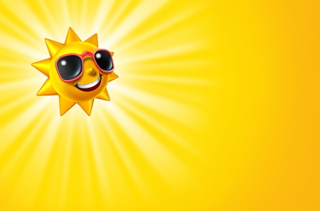 sun tanning: Smiling hot sun as a summer sunny character with sunglasses as a happy ball of glowing warm seasonal fun and a symbol of vacation and relaxation on a yellow radiant background