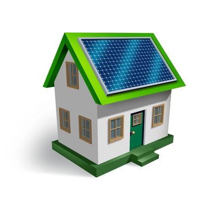 energia renovable: La energ�a solar s�mbolo de la casa sobre un fondo blanco como un icono residencial de electricidad renovable verde del sol que es fuera de la red como el ahorro de dinero y la estrategia ecol�gica