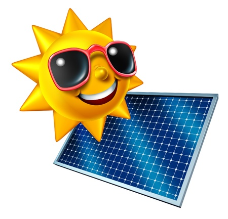 Sun character with solar panel as an icon of green renewable electricity from the sky and being off the grid as money saving and ecological strategy and as a symbol of sustainble energy  photo