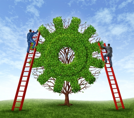 Building a business and growing financial success with a team represented by a tree in the shape of a gear or cog and business men climbing red ladders to care for the growth of the plant  photo