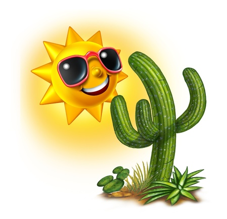 Cactus and sun character smiling and happy with dark glasses as a hot tropical summer fun concept on a white background  Stock Photo - 14489049