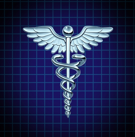 Caduceus health care symbol and medical icon as a medicine concept with snakes crawling on a pole with wings on a chrome metal texture on a black graph background
