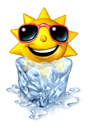 chilled out: Cool down refreshment relief concept with a hot vacation summer sun character in a frozen cold block of ice melting as a chilled conforting relaxation from the blistering heat on white  Stock Photo