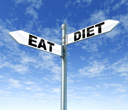 Eat and diet street sign on a blue sky as a health care symbol of the struggles and dilemma faced by dieting and eating well and living a healthy lifestyle  Stock Photo - 14489048
