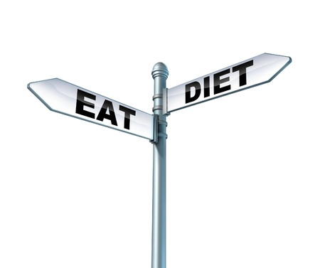 Eating and dieting street sign isolated on a white background as a health care symbol of the struggles and dilemma faced by diet and to eat well and living a healthy lifestyle and avoid junk food  Stock Photo - 14489040