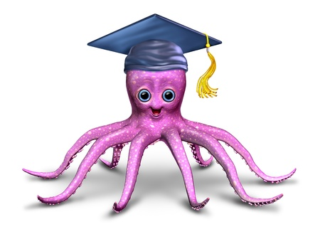 Education and learning character with a fun three dimensional friendly school octopus with a graduation hat as a symbol of preschool and elementary development and creativity on a white background  Stock Photo - 14489044