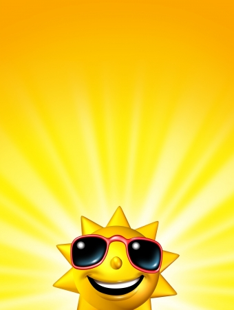sun tanning: Happy sunrise sun character wearing glasses or a sunset concept with a bright warm yellow background with radiating light beams with a blank area for your text