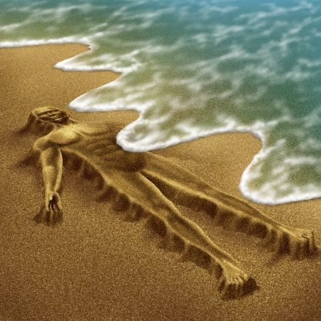 amnesia: Human aging and disease with a body sculpted from sand on the beach with the ocean washing it away with the tide as a concept of dying or health loss due to age and illness as alzheimer dementia or terminal cancer  Stock Photo