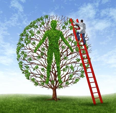 환자 치료의 보건 의료 및 의학 기호는 인간의 몸의 형태로 성장하는 녹색 나무와 의료 질병 예방을 중독 및 예방 서비스로 사람에서 작동하는 의사