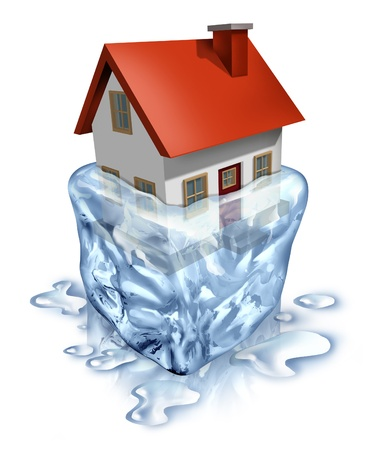 refinance: Real estate recovery symbol with a house in melting  ice as a housing concept of improving home buyers and sellers economy with debt relief and a better economy and low mortgage interest rates
