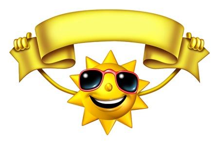 soleil rigolo: Caract�re Sun Holding un ruban banni�re blanche signe pour la publicit� amusante chaude saison et la pr�sentation et un symbole de vacances et de d�tente sous avec un ciel ensoleill� isol� sur blanc