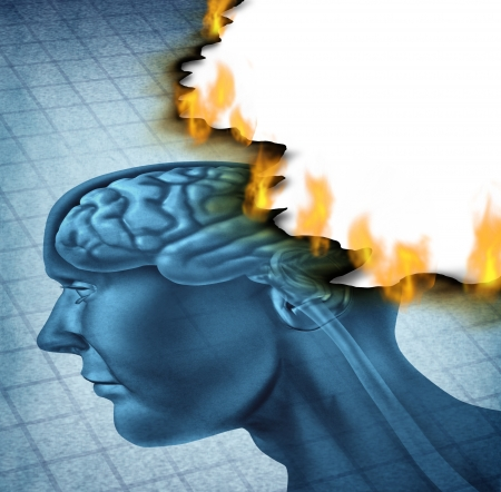 Brain disease and burn out icon as a medical neurology and health care symbol with a picture of a human head being burnt with fire flames as a concept of  alzheimer and dementia illness