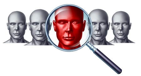 discovery: Employment and career concept with human head icons and a red businessman character in a magnifying glass as a symbol of recruitment and occupation discovery