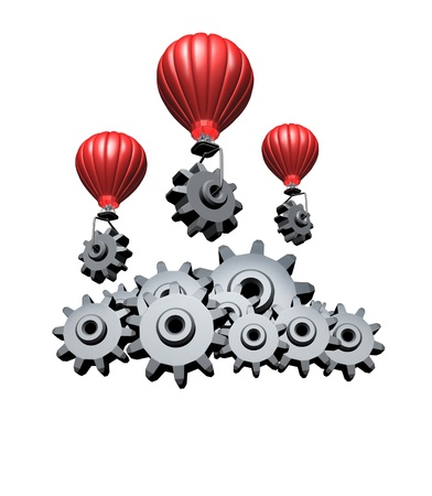 Cloud computing concept and wireless technology business symbol building an internet mobile network with red hot air balloons transporting gears and cogs creating data server clouds isolated on a white background  photo