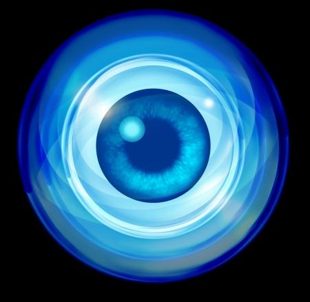 vision futuro: Concepto de negocio futuras visión con una bola de cristal y un símbolo que representa la visión del ojo financiero y orientación para dirigir y aprender sobre negro