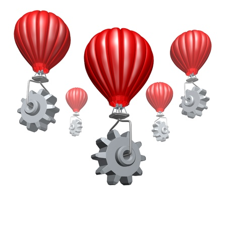 Cloud computing business and strategic partnership technology concept with hot air balloons with gears and cogs building a website or network of virtual servers for the internet on a white background  photo