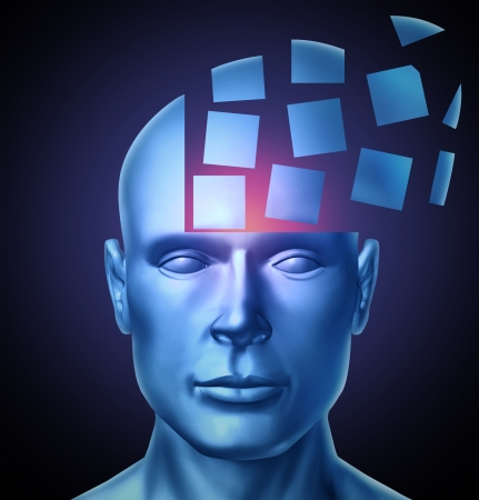 Learn and lead education and leadership concept with a human head being segmented into cubic shapes and spreading outward as a symbol of business training success on a glowing black background
