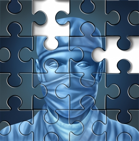 Medical care problems concept with a doctor and a surgeon mask symbol in a puzzle jigsaw texture with pieces missing as change to the status quo of the broken hospital service insurance that needs to be fixed  photo