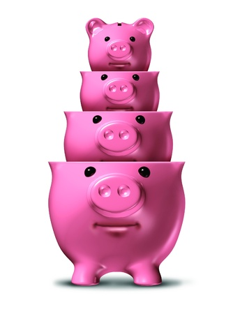Savings loss and shrinking financial wealth and home finances with piggy banks shrinking in size as a symbol of debt and recession and losing money on a white background  Stock Photo - 14571354