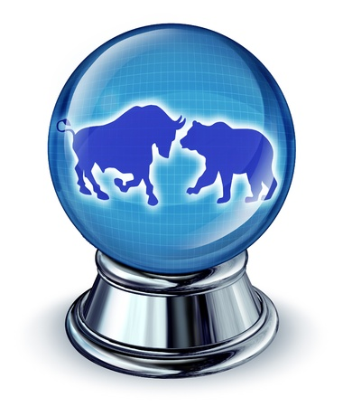 stock predictions: Previsioni di mercato di archivio come un concetto finanziaria con una palla cristallo e un toro e orso nella riflessione come simbolo delle tendenze commerciali future Archivio Fotografico