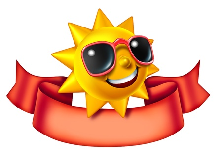 Sunny sun three dimensional cartoon character with a blank red banner as a hot summer symbol of heat and vacation advertisement or communication icon and relaxation isolated on a white background  Stock Photo