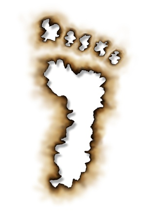 Carbon footprint or conservation symbol with  damaged burnt paper edges in the shape of a foot print as an icon of global warming with nature and the environment stopping pollution due to burning on a white background  photo
