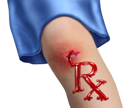 Child Health Care and pediatric medicine medical concept with a human child knee as a physical bleeding injury in the shape of RX pharmacy symbol as an icon of  family hospital services on white