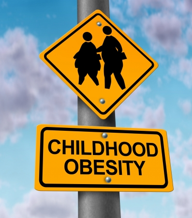 overweight students: Childhood obesity concept with a traffic road sign showing an icon of overweight kids and young students as a warning to the hazards of eating junk food and fatty fast food
