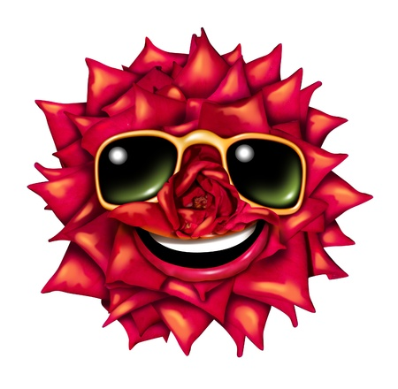 Flower character head as a fun red rose mascot of passion and romance with summer sun glasses and a smiling happy expression as a symbol of nature and natural beauty with a front view radiant petals pattern  Stock Photo - 14730981