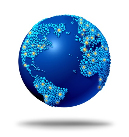 web marketing: Global connections and communications symbol concept with a blue international globe of the worldmade of small globes around a sphere as a social exchange and trade icon for imports and exports