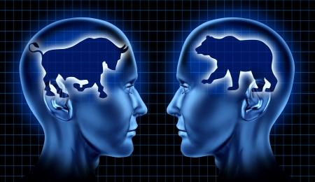bullish: Immagini operatori di mercato e investire simbolo finanziaria con due uomini d'affari che rappresentano l'orso e dei mercati toro e un grafico su uno sfondo nero