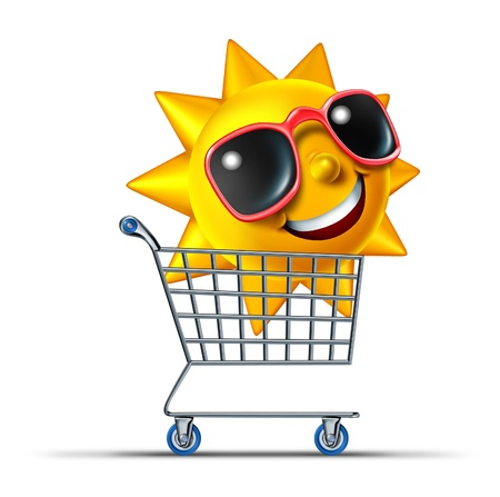 Vacation business tourism concept with a shopping cart and a fun summer sun character with sunglasses traveling to a hot destination for relaxation and leisure rest as a symbol of internet travel booking  Stock Photo - 14730973