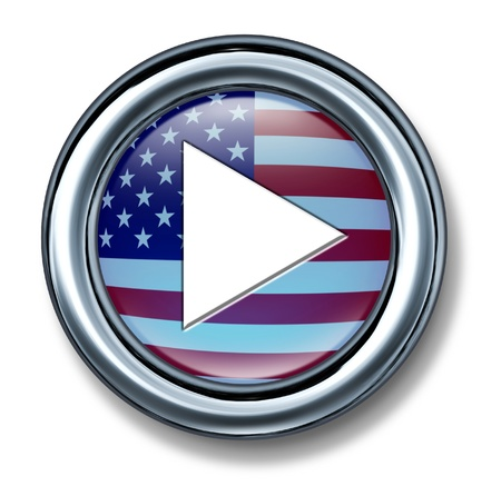 u s: American media play button on a white background as a technology and internet icon from the United States and symbol of music and video start selection of digital media content
