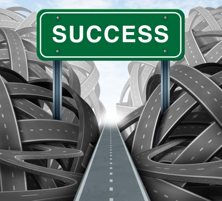 escape: Clear strategy and financial planning road with a green highway sign and the word success as a business concept of winning solutions cutting through adversity through determination as tangled paths of confusion and chaos