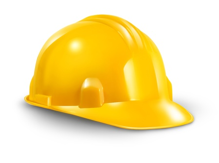 Construction hard hat as a work safety symbol of the renovations and home improvement builder industry on a white background  Stock Photo - 14837688