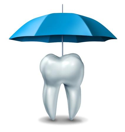 odontologia: Concepto Dental plan de protecci�n m�dica dental con un diente blanco protegida y conseguir el alivio del dolor por un paraguas contra las caries en un fondo blanco Foto de archivo