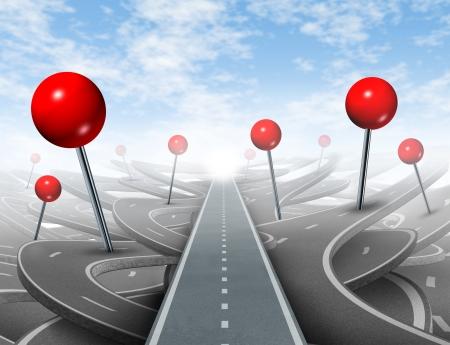 Dirección de Asesoramiento y elección de la derecha camino directo al éxito claro con chinchetas rojas tan confuso guías en los caminos equivocados como obstáculos para la riqueza financiera Foto de archivo