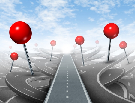 Direction Advice and choosing the right direct clear path to success with red push pins as confusing guides on the wrong roads as obstacles to financial wealth