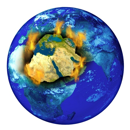 syria: Middle East conflict with the planet earth burning with flames as a crisis concept of political crisis in countries as Syria Isreal Iran Egypt Iraq and Libya  Stock Photo