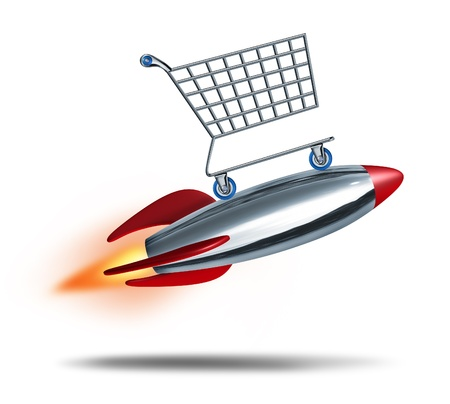check out: Speed shopping and quick check out concept with a shop cart flying in the air with a rocket blast as a symbol of fast consumer sales service on a white background  Stock Photo