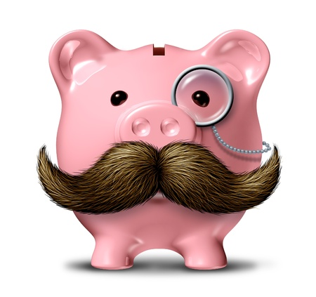 piggy bank money: Big business and financial wealth symbol as a piggy bank  with a big mustache and a monocle as a finance concept of getting rich by saving money on a white background