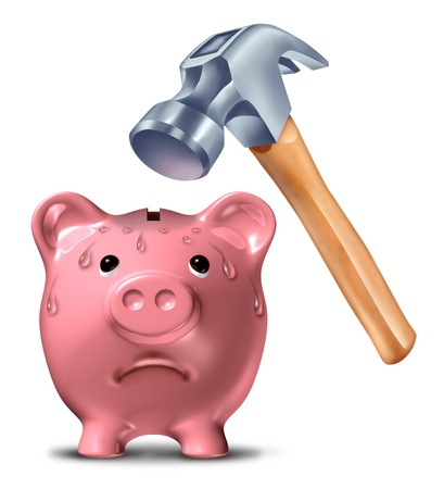 Breaking the bank concept with a pink ceramic piggy pig being hammered by a dangerous heavy hammer ready to break the savings as a financial emergency due to credit and debt problems on a white background