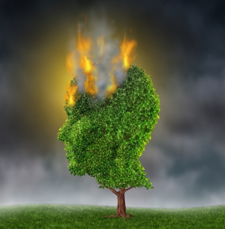 感情的なストレスや極端な苦痛や不安や抑うつの痛みを表す医学脳概念として、夜空に炎で燃えている人間の頭の形の木と苦しみ