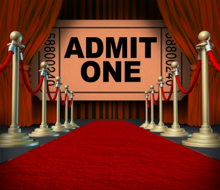 carpet: Entertainment on the red carpet theatrical cinema concept with an admit one movie ticket behind red velvet curtains and drapes as a symbol of an important creative stage performance event